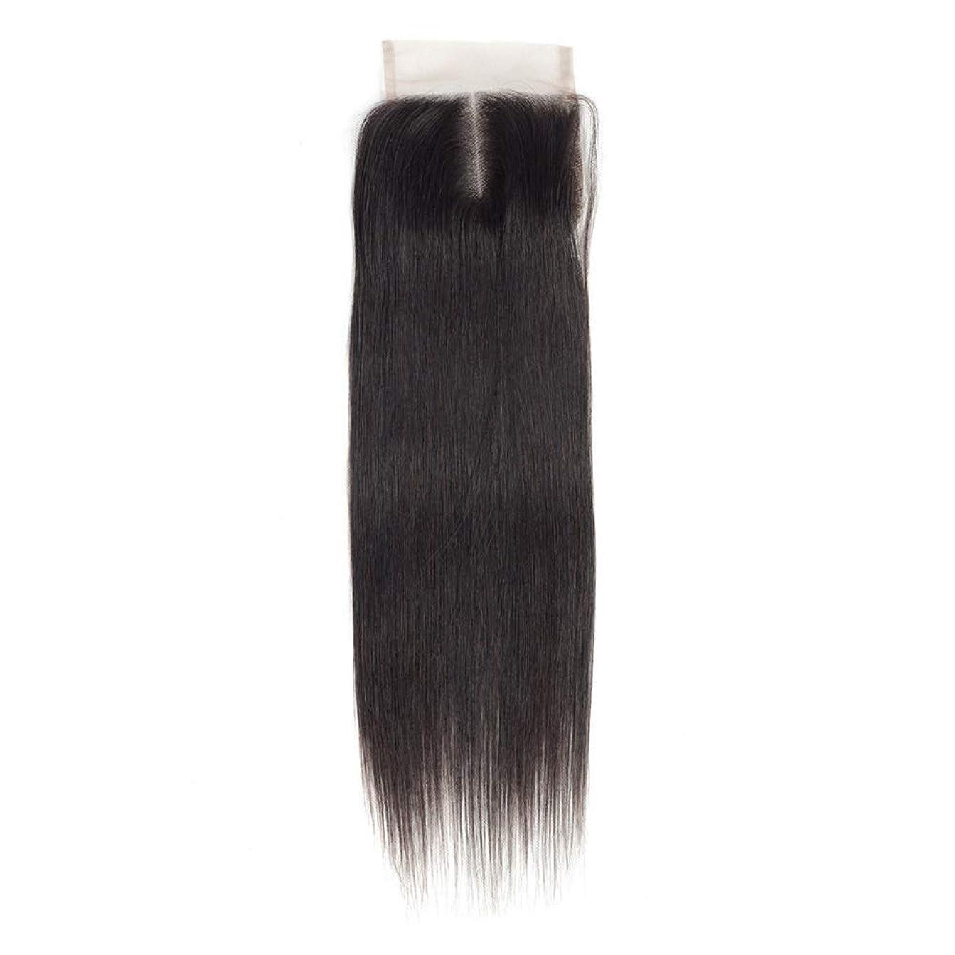 解読する溶けた装置Isikawan 中部ナチュラルカラーストレート横糸ヘアエクステンション女性のRemy人間の髪の毛4×4レース前頭閉鎖 (色 : ブラック, サイズ : 20 inch)