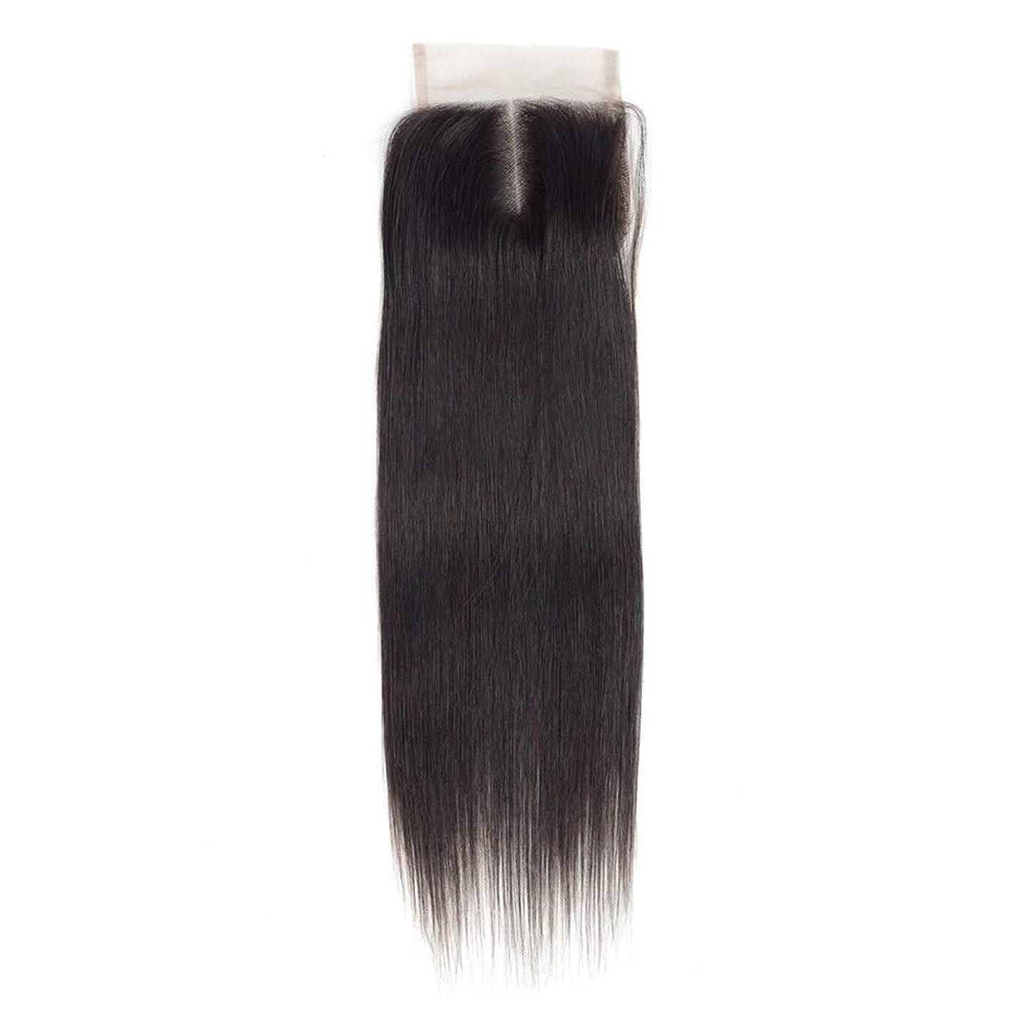 監督するプレミアム明確なYrattary 女性のRemy人間の髪の毛4×4レース前頭閉鎖中央部ナチュラルカラーストレート横糸ヘアエクステンションロングストレートヘアウィッグ (色 : ブラック, サイズ : 8 inch)