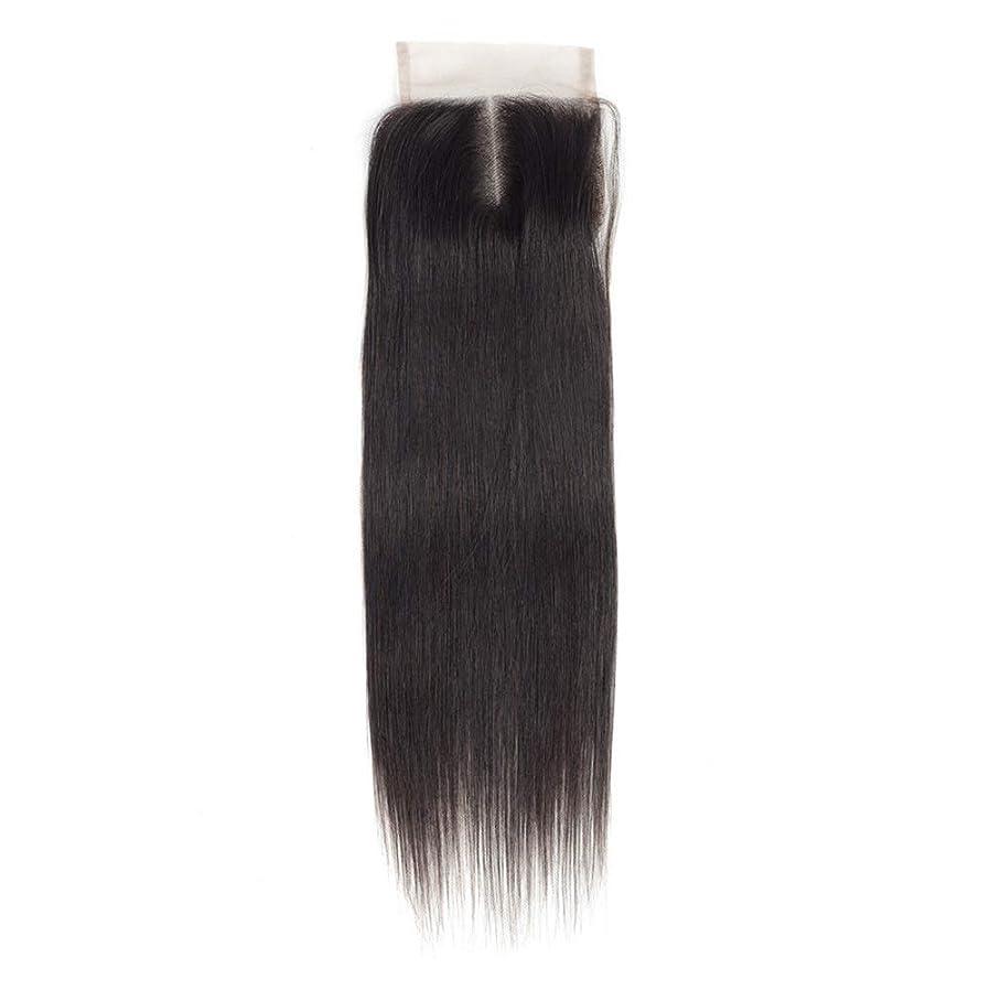 下位洞察力のある流体YESONEEP 女性のRemy人間の髪の毛4×4レース前頭閉鎖中央部ナチュラルカラーストレート横糸ヘアエクステンションロングストレートヘアウィッグ (Color : ブラック, サイズ : 20 inch)