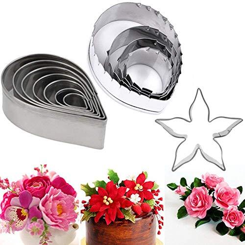 11PCS Cake Ausstechformen Teigform Modellier Werkzeug Backen gumpaste Blume & die einfachste Rose Ever Cutter Kuchen dekorieren Fondant Prägung Werkzeug für Cupcake Topper Kuchen dekorieren