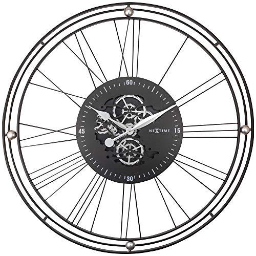 NeXtime Wanduhr mit römischen Getrieben XXL – 90,5 cm – Schwarz/Silber – Metall – Uhr mit römischen Getrieben