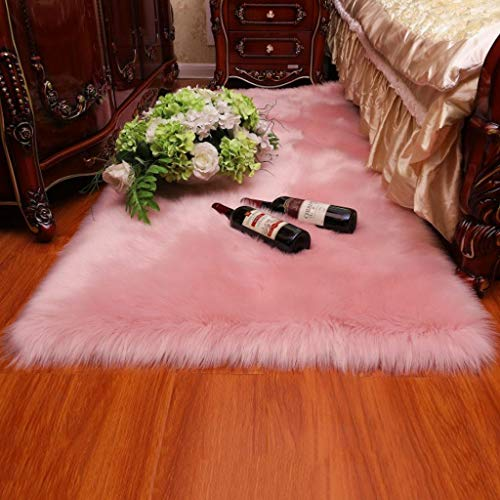 Faux Lambskin schapehuiddeken wasbaar imitatie Wol Tea Table Mat Anti-Skid Yoga Carpet,Pink,120×200cm/3.9×6.5ft