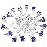 15 pezzi 6 pin 3 posizioni mini interruttori a levetta con 30 viti e 30 rondelle, 125 V 6 ...