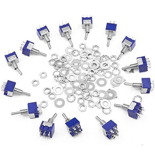6-poliger Mini-Kippschalter mit 3 Positionen, mit 30 Schrauben und 30 Unterlegscheiben, 125 V 6 A Ein-Aus-Ein, Kippschalter mit Metallstift, 15 Stück