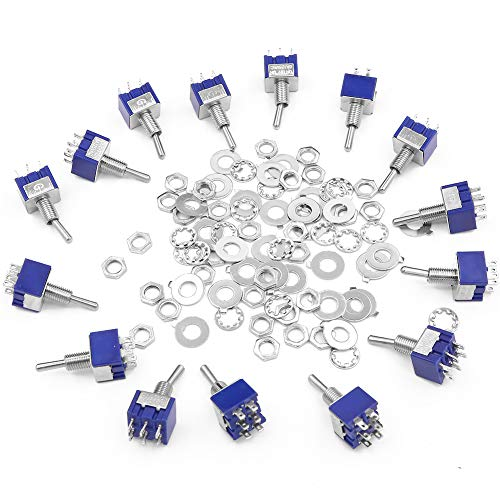 15 piezas 6 pines 3 posiciones mini interruptor de palanca con 30 tornillos y 30 arandelas 125 V 6 A interruptor basculante con palo de metal