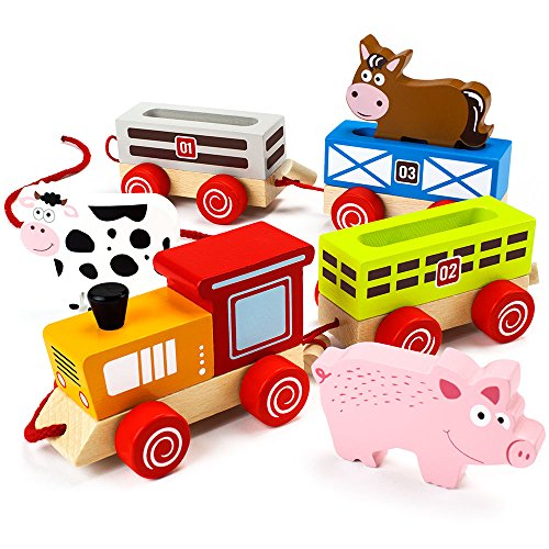 Wooden Wonders Push-n-Pull Busy Barnyard Train