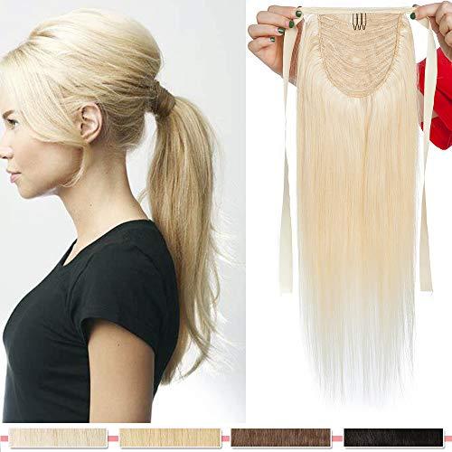 55cm - Coleta Extensiones de Clip de Pelo Natural Tie Up Ponytail Extension 95g Cabello Humano Remy Human Hair -60# Rubio Platino
