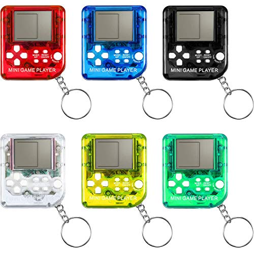 KDRose 6 Classic Game Keychains, Portable Mini Nostalgic Retro with 26 Kinds of Game Console Keychain LCD Handheld Game Console, with Hanging Chain is The Best Gift for Children and Adults