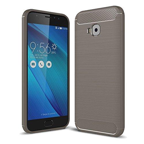 König Design Handy-Hülle kompatibel mit Asus Zenfone 4 Selfie ZD553KL Silikon Hülle Hülle Sturzsichere Back-Cover Handyhülle - Carbon - Grau