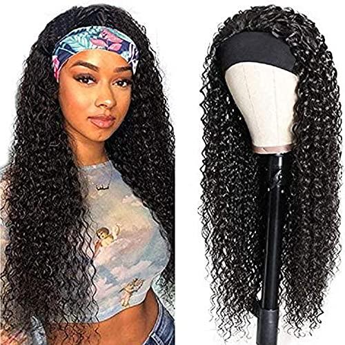 IFLY Headband Wig Locken Perücke Frauen Echthaar Deep Curly Human Hair Wig for Black Woman Haarverlängerung Headband Damen Deep Curly Wig 150% Density 16 zoll