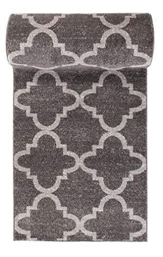MISLD WE LOVE RUGS - Alfombra de pasillo gris con diseño moderno, diseño moderno de enrejado de 70 x 300 cm de largo