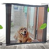 OLMME 2 Piezas de Puerta Mágica para Perros, Puerta de Malla para Mascotas Barrera para Mascotas Recinto Portátil de Seguridad para Mascotas para La Puerta de La Escalera de La Casa(Size:78 * 150cm)