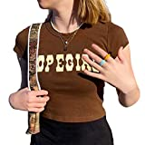 Women Y2k Crop Top E-Girl Clothing Graphic Print T-Shirt Harajuku Vintage Streetwear Tops Slim Fit Blouse (Brown, M)