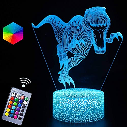 MUZILIZIYU Luz de Noche de Dinosaurios para niños, luz de ilusión óptica 3D, lámpara de Noche de Cambio de 16 Colores con Control Remoto Lámpara de Noche, Regalos de cumpleaños para niños y Adultos