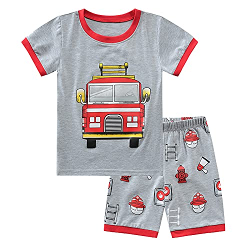 SFreeBo Pigiama Corto Bambino Camion dei Pompieri Pigiama Bambino Estivo Cotone Pigiama 2 Pezzi Pigiama Ragazzi 4-5 Anni