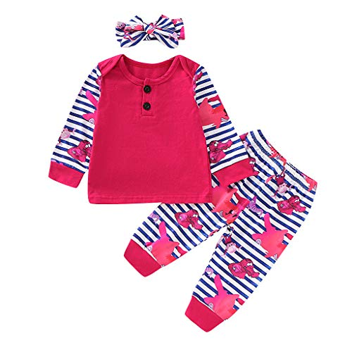 Winter Babykleidung Mädchen 0-6 Monate,Säugling Mädchen Langarmshirt Oberteile + Blumen Hose +Stirnband Set Neugeborenes Baby Outfit