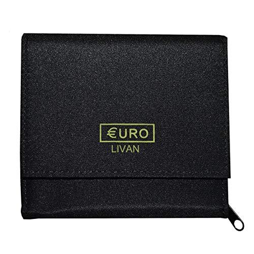 LIVAN - Porte Monnaie trieur Euro - 8 Compartiments Monnaie - 3 emplacements Cartes crédit - en Nylon - Fermeture éclaire - Femme Homme (Noir (monnayeur))