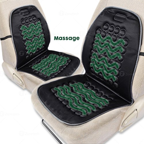 Zone Tech Magnetic Bubble Ultra Comfort Massaging Car Seat Cushion - Set of 2 Classic Black Premium Quality Massaging Padded Car Office Home Seat Cushion for Stress Free All Day!