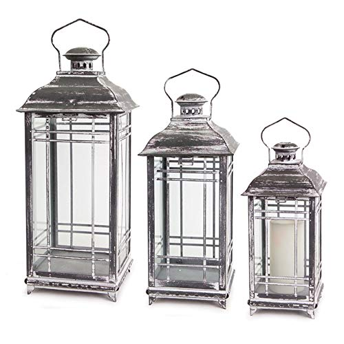 Melrose Rustic Decorative Hanging Metal and Glass Outdoor Porch Deck Patio Home Room Décor Lantern...