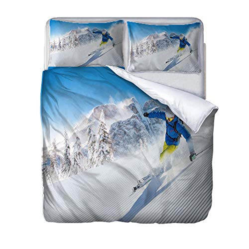 zzqxx Printed Duvet Cover Set Double Size Skiing Bed Set with 2 Pillow Soft Polyester Cases Printed Bedding Ultra Soft Microfiber Quilt Cover Sets Easy Care 200x200cm
