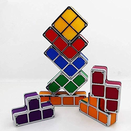 Lampada Tetris, Lampada da Tavolo LED impilabile Fai-da-Te, Retro Blocchi 3D 7 Colori Puzzle Giocattolo Luce Tetris