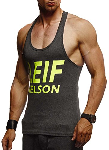 Leif Nelson Gym Herren Stringer T-Shirt Sport Fitness ohne Ärmel Männer Bodybuilder Trainingsshirt Top ärmellos Sportshirt Bodybuilding Training LN8243 Anthrazit-Gelb XX-Large
