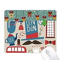 ビッグ・ベン・郵便局・レッドバス英国イングランドの英国紳士のイラストの旗パターン ゲーム用スライドゴムのマウスパッドクリスマス