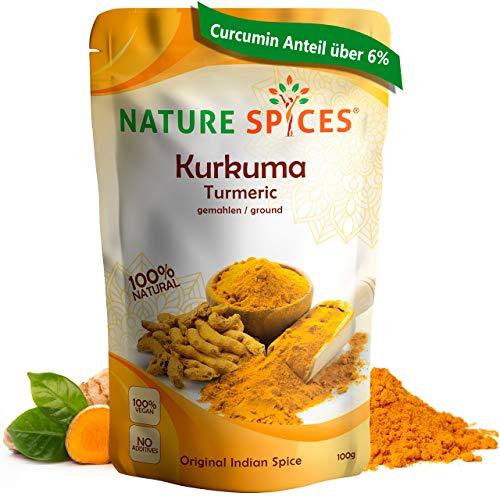 NATURE SPICES® Kurkuma Pulver gemahlen | 100g | Superfood mit über 6% Curcumin Gehalt | Perfekt für Goldene Milch, Masala oder Tee | Original indischer Kurkuma