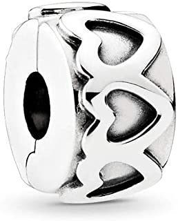 PANDORA Row Of Hearts Clip Charm, Sterling Silver, One Size