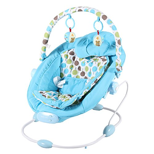 Baby Vibrating Musical Bouncer, Baby Rocker Chair, Hanging Ball Toys - BLUE