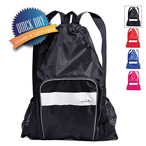 Athletico Mesh Swim Bag - Mesh Pool Bag With Wet & Dry Compartments for Swimming, the Beach, Camping and More (Black)