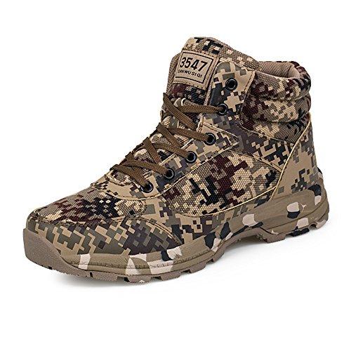 PAMRAY Herren Damen Camouflage Schuhe Taktisch Outdoor Sports Laufschuhe Safety Warm Stiefel Hoch Top Militär Camping Wandern42