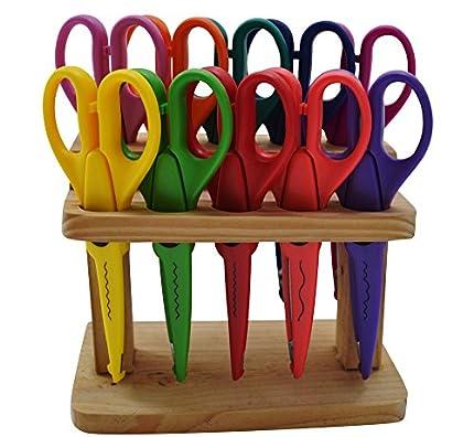 East-West Trading GmbH Jumbo Juego de tijeras para manualidades (10 piezas, con soporte de madera)