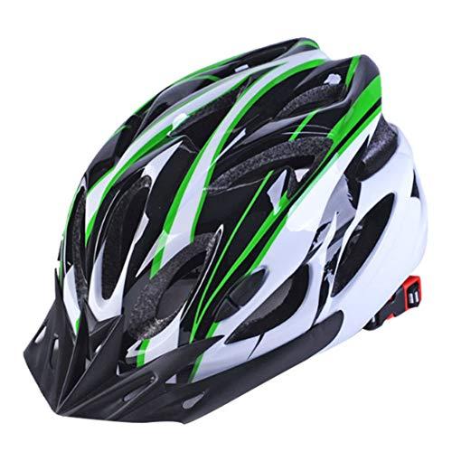 XINFULUK Caschi da Bicicletta Nero Opaco Uomo Donna Casco da Ciclismo Luce Posteriore MTB Mountain Road Bike Caschi da Bicicletta integralmente modellati - Nero Verde Bianco