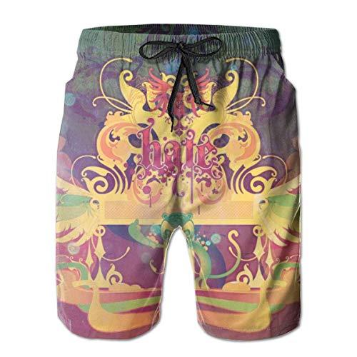 OMNHGFUG Pantalones cortos de playa para hombre, con diseño abstracto, ajuste casual, con cordón, pantalones cortos elásticos de verano con bolsillos
