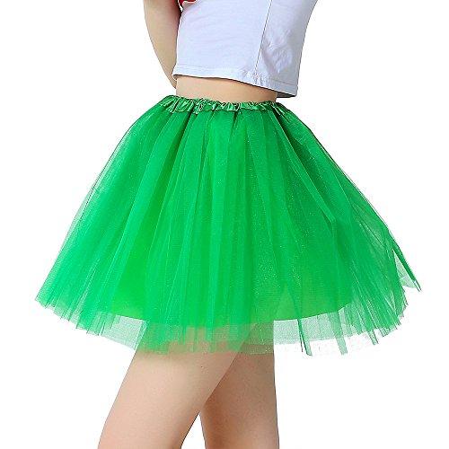 InnoBase Tutu Damenrock Tüllrock 50er Kurz Ballet 3 Layers Tanzkleid Zubehör für Frauen Mädchen 8 Farben (Apfel Grün)