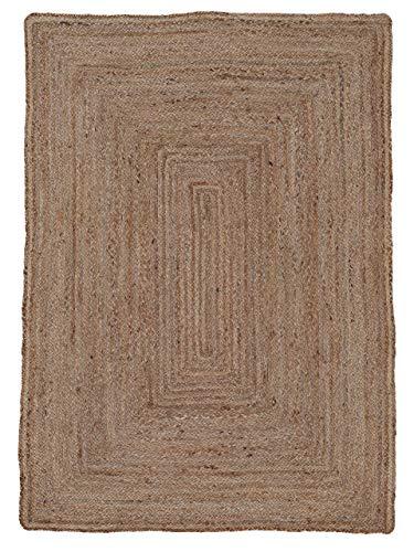 carpetfine Juteteppich Nele Beige 60x100 cm   Moderner Teppich für Wohn- und Schlafzimmer