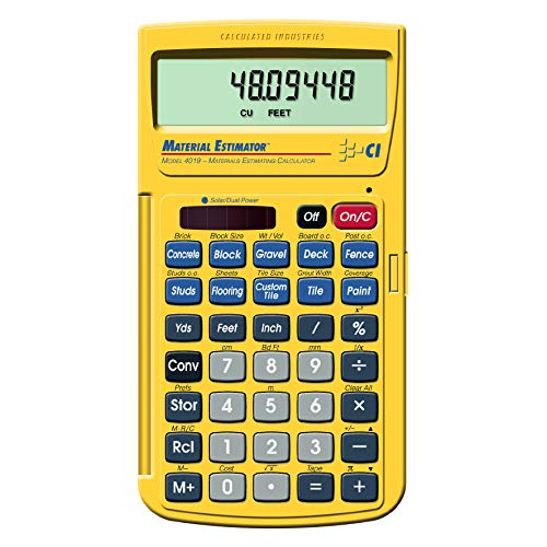 Calculated Industries 4019 Material Estimator Calculator | Finds Project Building Material Costs for DIY's, Contractors, Tradesmen, Handymen and Construction Estimating Professionals,Yellow