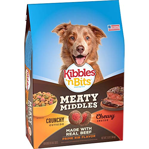 Kibbles  n Bits 079100834075 Meaty Middles Prime Rib Flavor  Dry Dog Food  3 lb (Pack of 4)