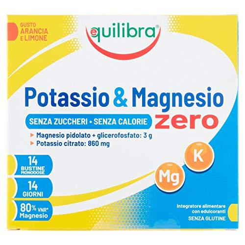 Equilibra Integratori Alimentari, Potassio e Magnesio Zero, Integratore Magnesio e Potassio per Reintegro Sali Minerali, Gusto Arancia e Limone, Senza Zuccheri e Calorie, Senza Glutine, 14 Bustine