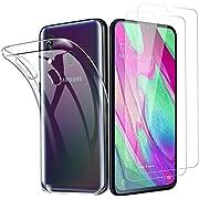 Galaxy A40 Hülle Panzerglas [1 Hülle + 2 Panzerglas], Transparent Silikon TPU Soft Premium Case für Galaxy A40, Anti-Kratzer Schock-Absorption Durchsichtig Schutzhülle für Galaxy A40