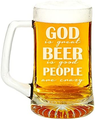 God Is Great Beer Is Good People Are Crazy Engraved Glass Beer Mug 15 ounce product image