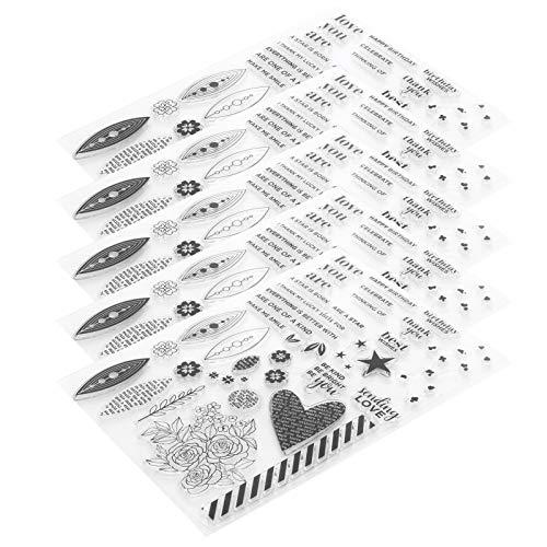 DIY Journal Craft Art Accesorios de múltiples patrones 5 piezas de goma transparente transparente, plantilla de estampado Sellos transparentes Tarjetas de sello de silicona para adorno de