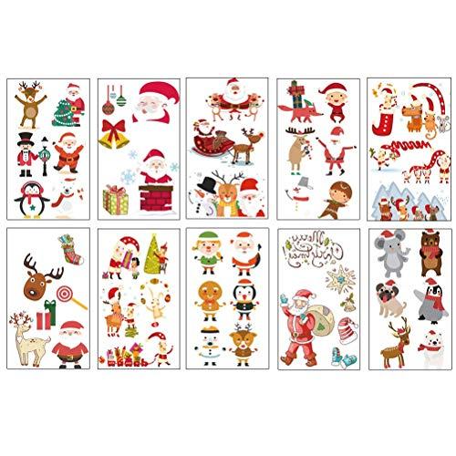 BLTR Imperméable à l'eau 20 Feuilles de Noël Mignon Éléments Tatouages Enfants Autocollant décoratif Tattoo Cartoon Noël Sexy