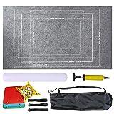 YAHAO Tapis de rangement en feutre pour puzzle - Longue boîte - Pas de plis pliés - Jusqu'à 1 500 pièces - Livré avec un sac avec cordon de serrage - Gris