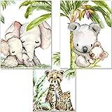 artpin Juego de 3 imágenes para habitación infantil, diseño de animales de la selva, DIN A4, sin marco, safari africano, elefante, tigre, Koala P54