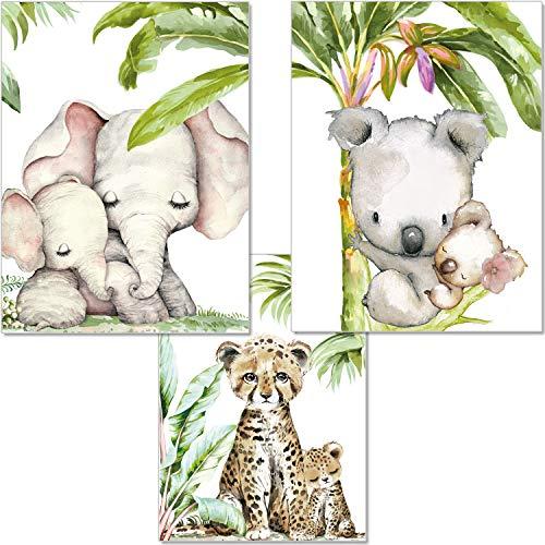 artpin® 3er Set Bilder Kinderzimmer Dschungel Deko Junge Mädchen - DIN A4 Poster Tiere ohne Bilderrahmen - Safari Afrika Wandbilder - Elefant Tiger Koala P54
