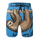 YongColer Casual Mens Swim Trunks Quick Dry Funny Blue Sloth...
