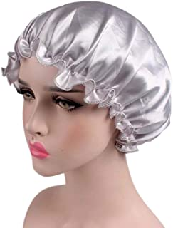 Xiang Ru Comfort Solid Color Satin Hair Care Night Cap Head Cover Bonnet for Women