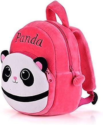 Frantic Pandora Velvet Panda Design Pink School Bag for 2 to 5 Age Kids